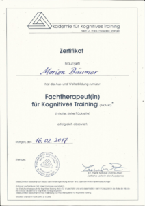 Zertifikat_Fachtherapeutin kognitives Training