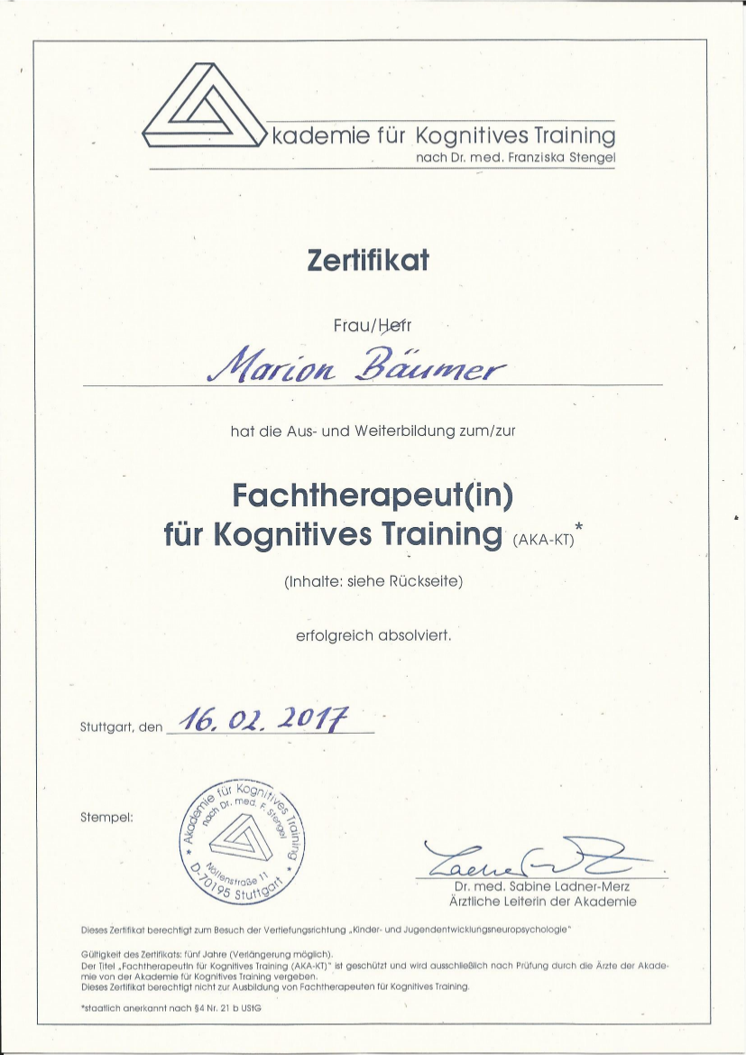 Geschafft: Fortbildung zur Fachtherapeutin fu00fcr kognitives Training (AKA-KT) u2013 Ergotherapie ...
